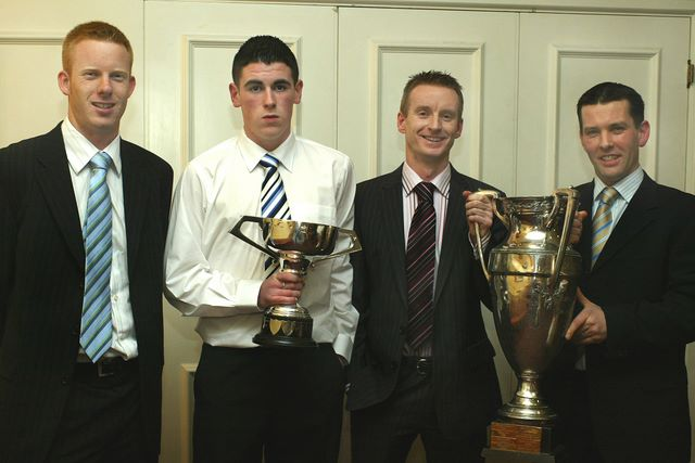 At the Barna Football Club Social,  from left,  Mark McDonagh, Prionsias McComiskey,  Morgan McHugh and Jimmy Greaney.